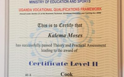 Kalema Moses now offically a chef.